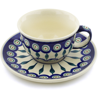 Polish Pottery Cup with Saucer 7 oz Peacock Leaves