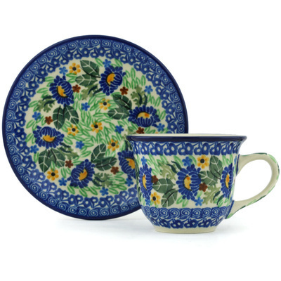 Polish Pottery Cup with Saucer 7 oz Peeking Blooms UNIKAT