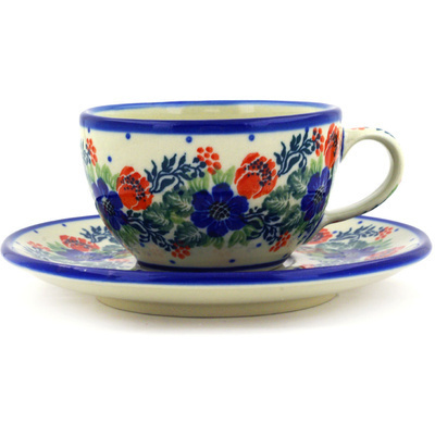 Polish Pottery Cup with Saucer 7 oz Polish Wreath