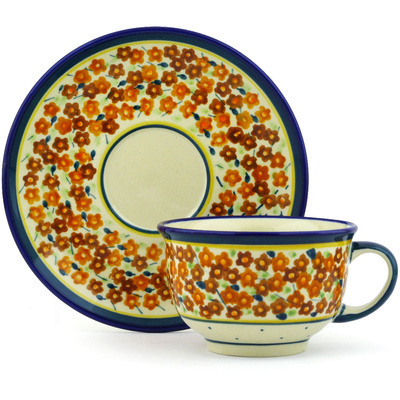Polish Pottery Cup with Saucer 7 oz Russett Floral