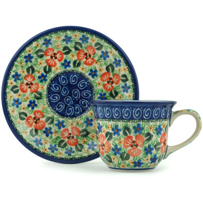 Polish Pottery Cup with Saucer 7 oz Simply Beautiful UNIKAT