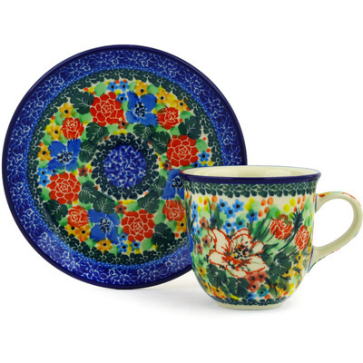 Polish Pottery Cup with Saucer 7 oz Splendid Hibiscus UNIKAT