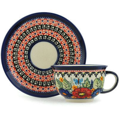 Polish Pottery Cup with Saucer 7 oz Spring Splendor UNIKAT