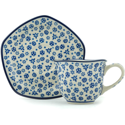 Polish Pottery Cup with Saucer 8 oz Blue Confetti