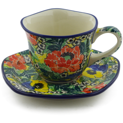 Polish Pottery Cup with Saucer 8 oz Breathtaking UNIKAT