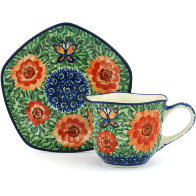 Polish Pottery Cup with Saucer 8 oz Butterfly Peach Poppies UNIKAT