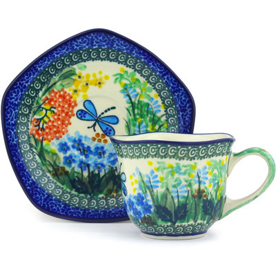 Polish Pottery Cup with Saucer 8 oz Garden Delight UNIKAT