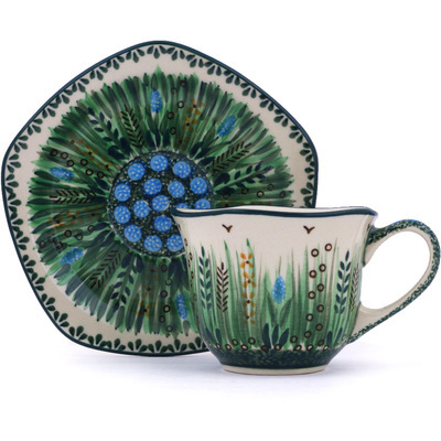 Polish Pottery Cup with Saucer 8 oz Prairie Land UNIKAT
