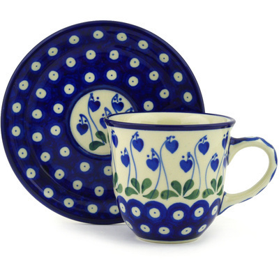 Polish Pottery Cup with Saucer 9 oz Bleeding Heart Peacock