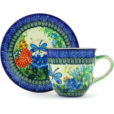Polish Pottery Cup with Saucer 9 oz Garden Delight UNIKAT