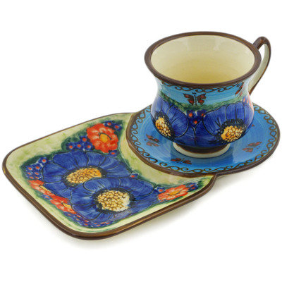 Polish Pottery Cup with Tray 7 oz Field Of Butterflies UNIKAT