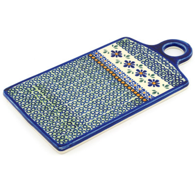 "Polish Pottery Cutting Board 11"" Gingham Flowers"