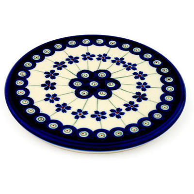 "Polish Pottery Cutting Board 6"" Flowering Peacock"