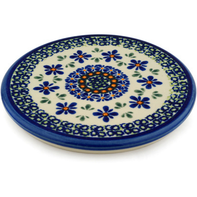 "Polish Pottery Cutting Board 6"" Gingham Flowers"