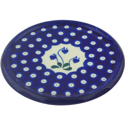 "Polish Pottery Cutting Board 7"" Bleeding Heart Peacock"