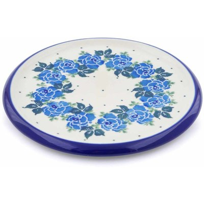 "Polish Pottery Cutting Board 7"" Blue Garland"