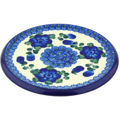 "Polish Pottery Cutting Board 7"" Blue Poppies"