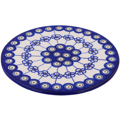 "Polish Pottery Cutting Board 7"" Flowering Peacock"