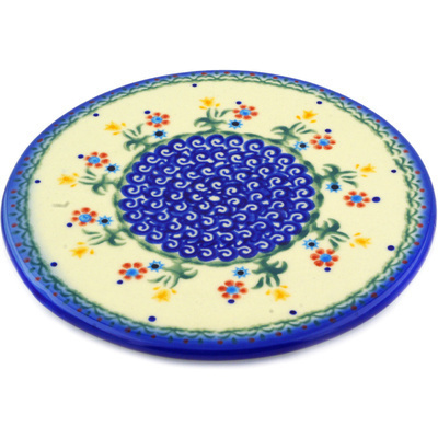 "Polish Pottery Cutting Board 7"" Spring Flowers"