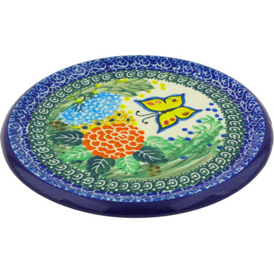"Polish Pottery Cutting Board 7"" Spring Garden UNIKAT"
