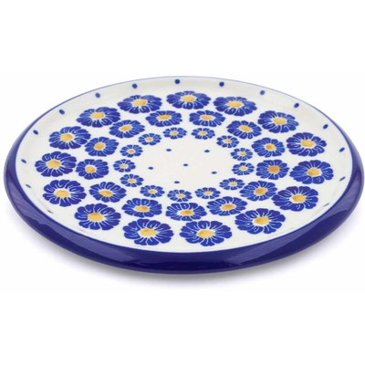 "Polish Pottery Cutting Board 7"" Wreath Of Blue"
