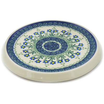 "Polish Pottery Cutting Board 8"" Blue Daisy Circle"