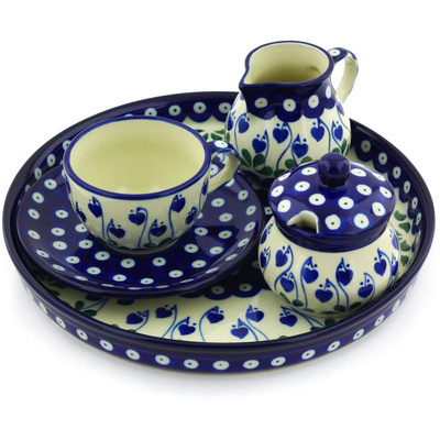 Polish Pottery Dessert Set 8 oz Bleeding Heart Peacock