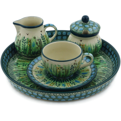 Polish Pottery Dessert Set 8 oz Prairie Land UNIKAT