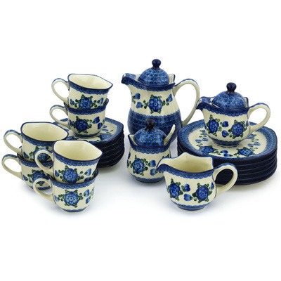 Polish Pottery Dessert Set for 6 29 oz Blue Poppies