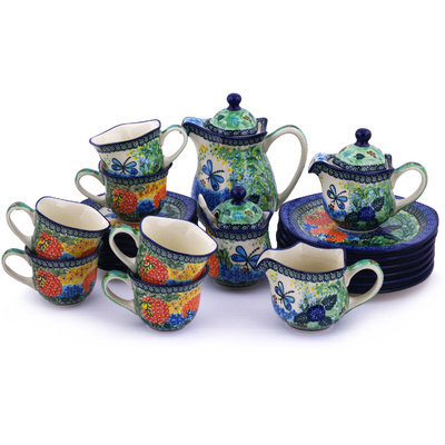 Polish Pottery Dessert Set for 6 29 oz Garden Delight UNIKAT