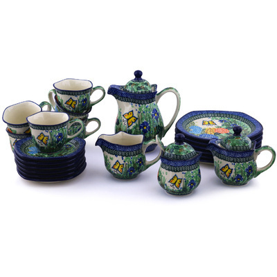 Polish Pottery Dessert Set for 6 29 oz Spring Garden UNIKAT