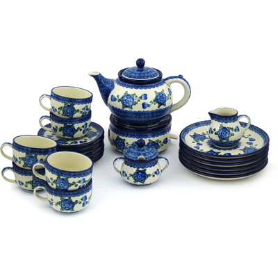 Polish Pottery Dessert Set for 6 with Heater 40 oz Blue Poppies