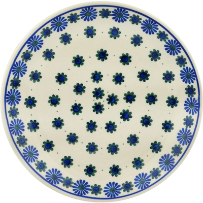 Polish Pottery Dinner Plate 10½-inch Black Asters
