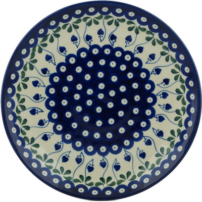 Polish Pottery Dinner Plate 10½-inch Bleeding Heart Peacock