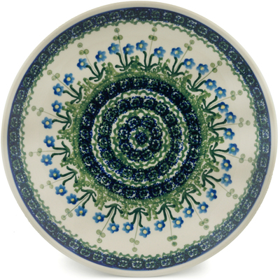 Polish Pottery Dinner Plate 10½-inch Blue Daisy Circle