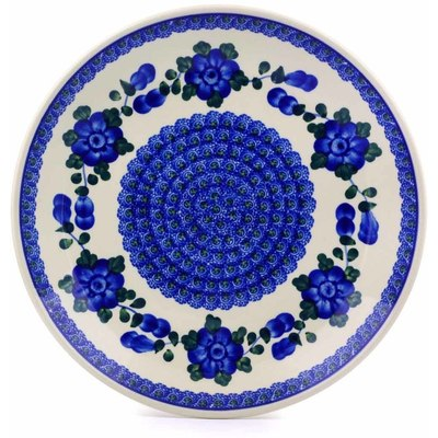 Polish Pottery Dinner Plate 10½-inch Blue Poppies