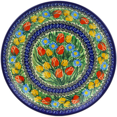 Polish Pottery Dinner Plate 10½-inch Breathtaking Tulips UNIKAT