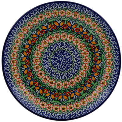 Polish Pottery Dinner Plate 10½-inch Butterfly Chain UNIKAT