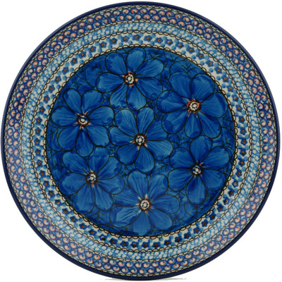 Polish Pottery Dinner Plate 10½-inch Cobalt Poppies UNIKAT