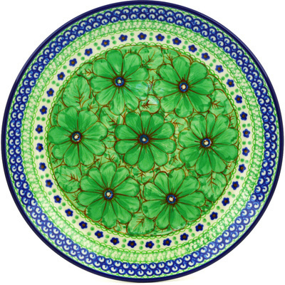 Polish Pottery Dinner Plate 10½-inch Key Lime Dreams UNIKAT