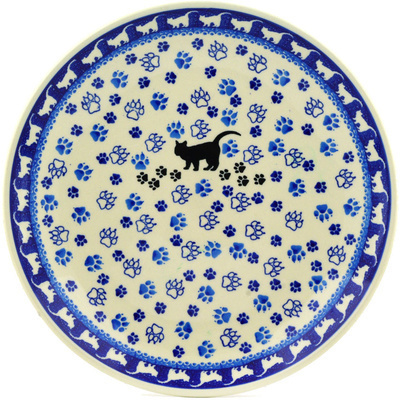 Polish Pottery Dinner Plate 10½-inch Kitty Prints