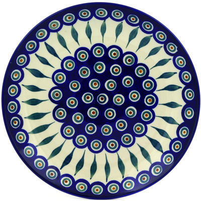 Polish Pottery Dinner Plate 10½-inch Peacock Leaves