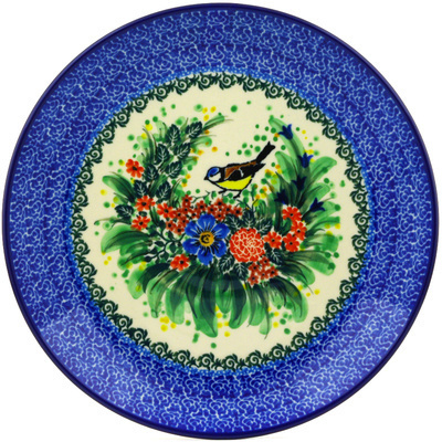 Polish Pottery Dinner Plate 10½-inch Robbin's Meadow UNIKAT