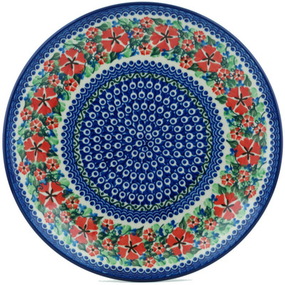 Polish Pottery Dinner Plate 10½-inch Sand Dollar Flowers UNIKAT