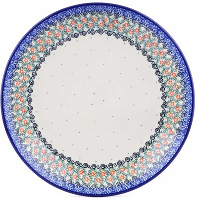 Polish Pottery Dinner Plate 10½-inch Swirls And Flowers