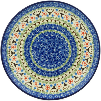 Polish Pottery Dinner Plate 10½-inch Texas Longhorns