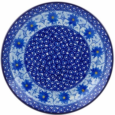 Polish Pottery Dinner Plate 10½-inch Winter Water Daisies UNIKAT