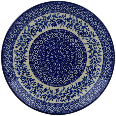 Polish Pottery Dinner Plate 10½-inch Wreath Of Blue UNIKAT