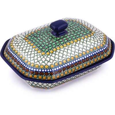 "Polish Pottery Dish with Cover 10"" Tranquility UNIKAT"