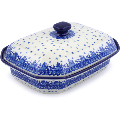 "Polish Pottery Dish with Cover 12"" Blue Winter"